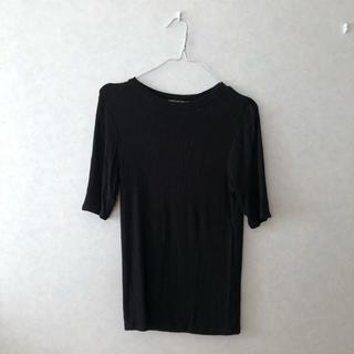 フィグアンドヴァイパー(FIG&VIPER)のTシャツ ティーシャツ ニット 黒 ブラック FIG &VIPER 7部丈 半袖(Tシャツ(半袖/袖なし))