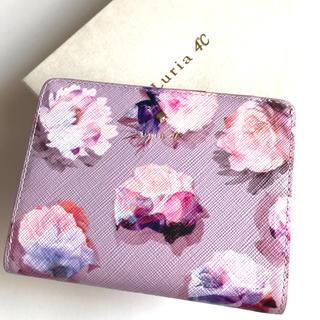 4℃ - ルリア4℃  二つ折り財布 ピンク 花柄 がま口