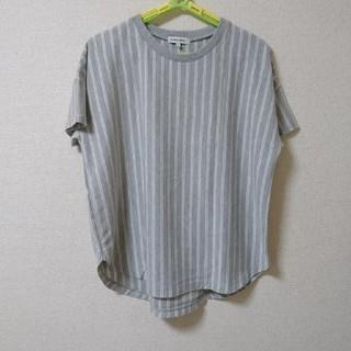 グローバルワーク(GLOBAL WORK)のグレーストライプTシャツL(Tシャツ(半袖/袖なし))