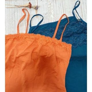 ユニクロ(UNIQLO)のユニクロ キャミソール 2枚セット 青 オレンジ(キャミソール)