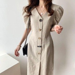 ZARA - VINTAGE STONE BUTTON DRESS.