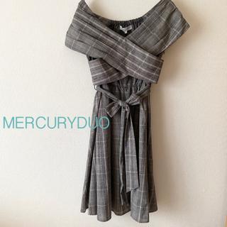 MERCURYDUO - MERCURYDUO チェック柄カシュクールワンピース