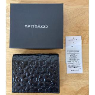 マリメッコ(marimekko)のマリメッコ 未使用 ウニッコ柄型押しレザー財布 ブラック(財布)