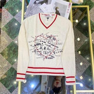 Dior - 【DIOR】最新作!DIORAMOUR*ライン入り Vネック セーター ニット