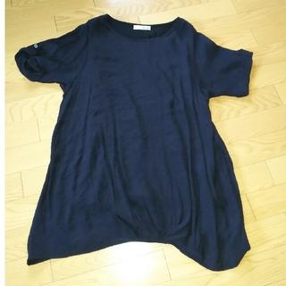 シューラルー(SHOO・LA・RUE)の美品 Lサイズ センタークロスプルオーバー(カットソー(半袖/袖なし))
