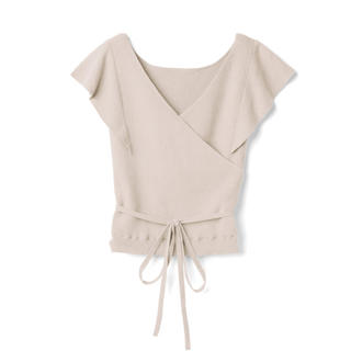 GRL - GRL カシュクールラッフルニットトップス ベージュ 新作 韓国ファッション