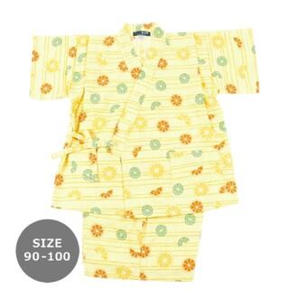 hakka kids - 濱文様 浴衣 甚平 オレンジライムグレープフルーツ90-100