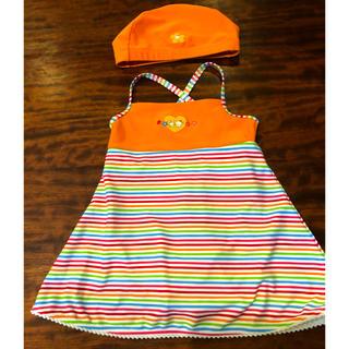 ファミリア(familiar)のファミリア  110サイズ 女子 ワンピース 水着 帽子付き オレンジ系色(水着)