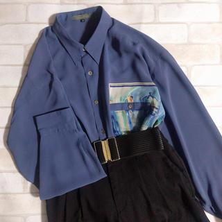 青紫系 透け感 ピクチャー柄 オーバーサイズ ヴィンテージ シャツ 古着 メンズ