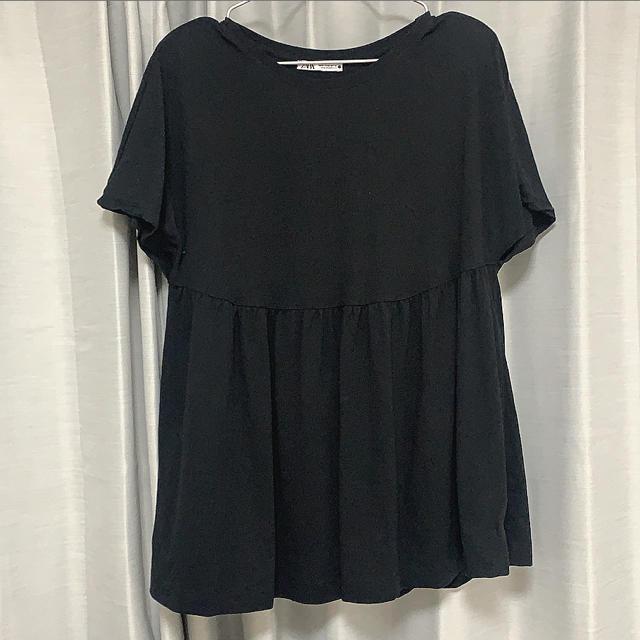 ZARA(ザラ)のZARA 半袖 トップス 黒 ブラック レディースのトップス(Tシャツ(半袖/袖なし))の商品写真