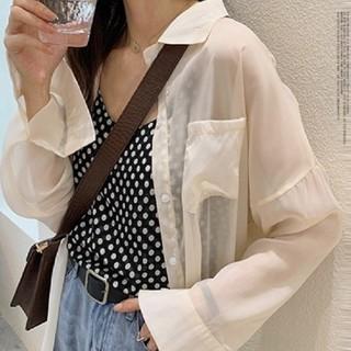今季のトレンド シアーシャツ シースルー  シャツ  透け感 レディース 即日発