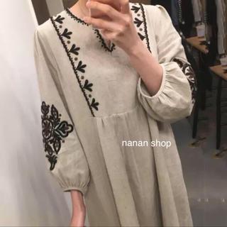 ZARA - ヴィンテージ風刺繍ワンピース【即購入OK】ランタン袖 マキシスカート
