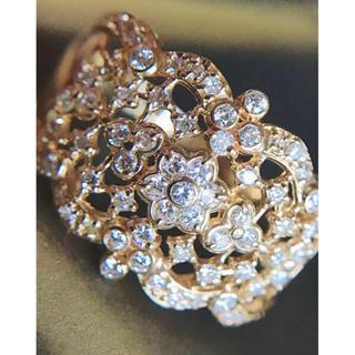 K18YG 0.50ct ダイヤモンドフラワー 透かしリング