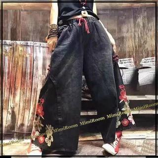 ~3L(W~96)【大きいサイズ】フラワー刺繍☆ガウチョ風ワイドデニムパンツ