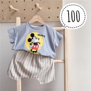 Disney - 100サイズ♡新品ミッキー Tシャツ ブルーグレー
