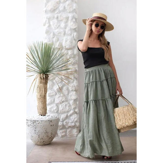 room306 CONTEMPORARY - room306  Tiered Design Maxi Skirt