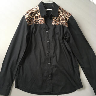 HARE - レオパードファー付き BLACK シャツ