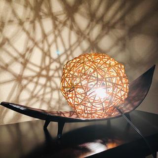 ココナッツリーフトレー+ラタン間接照明セット(小物入れ)
