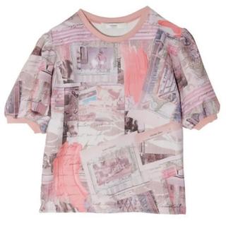 eimy istoire - eimy Paris art パフスリーブTシャツ pink