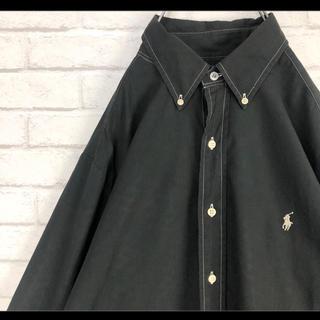 Ralph Lauren - ラルフローレン ボタンダウンシャツ 長袖 ブラック 白ポニー L 90s