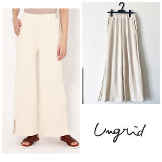Ungrid - ローズバッド ワイドパンツ ワッフル素材 オフホワイト  コットン100%