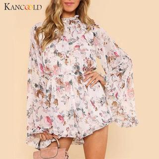 新品 花柄 長袖 ロンパース オールインワン 韓国ファッション