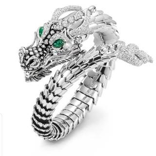 ドラゴンオープンリング メンズグリーンアイ シルバークリスタルドラゴンリング(リング(指輪))
