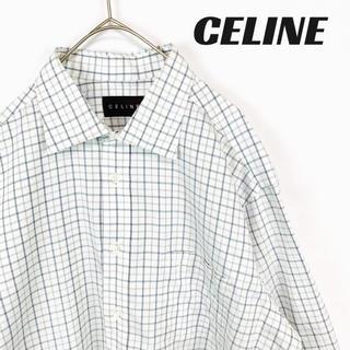 セリーヌ(celine)の【美品】CELINE セリーヌ  ボタンシャツ チェック ホワイト(シャツ)