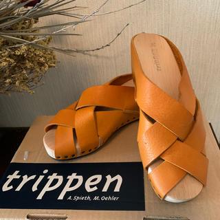 trippen - トリッペン 編み込みレザーサンダル trippen Twist yellow