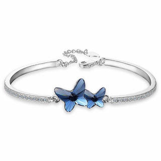 SWAROVSKI - スワロフスキージルコン シルバートーン 蝶々 ブルー ブレスレット