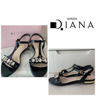 DIANA - ダイアナ ブラックエナメル ビジュー サンダル