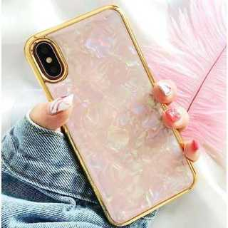 iPhoneX,XSケース シェル ゴールドフレーム ピンク(iPhoneケース)