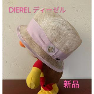 ディーゼル(DIESEL)のDIEREL ディーゼル ハット ストローハット 帽子 新品(麦わら帽子/ストローハット)