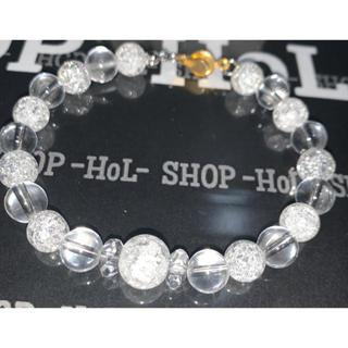 【送料込み】クラッククリスタル 数珠 ブレスレット 水晶 割れ水晶(ブレスレット)