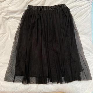 ジーユー(GU)のチュールスカート プリーツスカート ふわふわ可愛い 黒 GU(ひざ丈スカート)