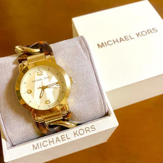 Michael Kors - 【美品!!】マイケルコース MK柄 腕時計 べっ甲×ゴールド プレゼント 夏🎀