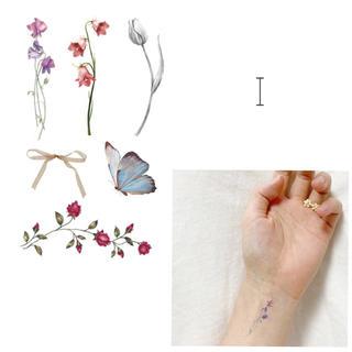 【I】タトゥーシール 韓国 花 蝶 リボン 消えるタトゥー