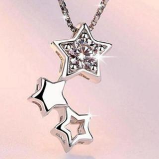 【送料無料】S925 ジルコニア ネックレス 星 スターリングシルバー N033(ネックレス)