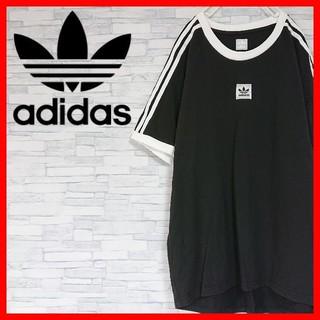 adidas - adidas アディダス トレフォイル Tシャツ 3本線 リンガー 刺繍 ロゴ