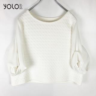 SCOT CLUB - 【YOLO】5分袖 袖切り替え シフォン カットソー 未使用品