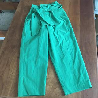 【Sophila】鮮やかなきれいなグリーン★ウエストリボンパンツ(カジュアルパンツ)