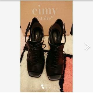 eimy istoire - エイミーイストワール オープントゥレースアップブーティー  ブラック 黒 L