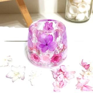 No.149 八重の紫陽花♡固まるハーバリウムペン立て•印鑑立て(ドライフラワー)