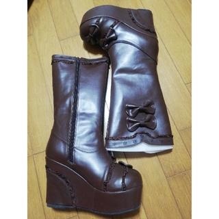 ボディライン(BODYLINE)のBODY LINE 厚底 ブーツ ブラウン リボン フリル ロリータ(ブーツ)