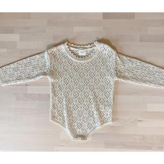 monbebe モンべべ 韓国子供服 透かし編みニットロンパース