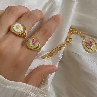 ロキエ(Lochie)のフラワー リング  韓国 かわいい vintage マーガレット チューリップ(リング(指輪))