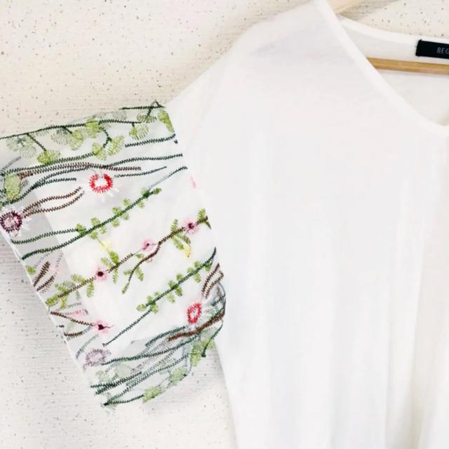 ZARA(ザラ)の袖チュール&お花刺繍が可愛い(๑˃̵ᴗ˂̵)✨‼️合わせやすい❤️トップス レディースのトップス(シャツ/ブラウス(半袖/袖なし))の商品写真