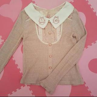 リズリサ(LIZ LISA)のリズリサ LIZ LISA トップス 長袖 襟 ピンク(カットソー(長袖/七分))
