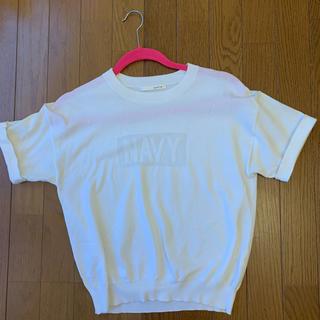 カリテ(qualite)のqualite ホワイトトップス ロゴTシャツ(カットソー(半袖/袖なし))