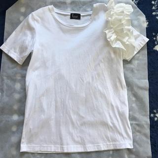 チェスティ(Chesty)のhue フリルスリーブTシャツ yokochan ヨーコチャン ホワイト 白 M(Tシャツ(半袖/袖なし))